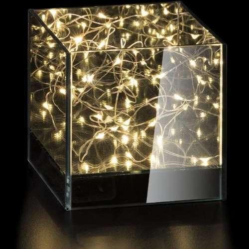 LAMPADA CUBO VETRO 20 LED CM12X12XH12