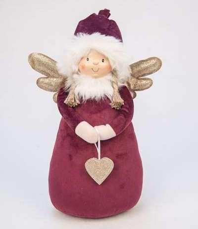 DECO ANGEL WITH HEART BURGUNDY BIG