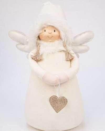 DECO ANGEL WITH HEART CREAM BIG