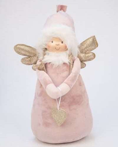 DECO ANGEL WITH HEART PINK BIG