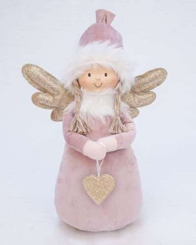 DECO ANGEL WITH HEART PINK MED.