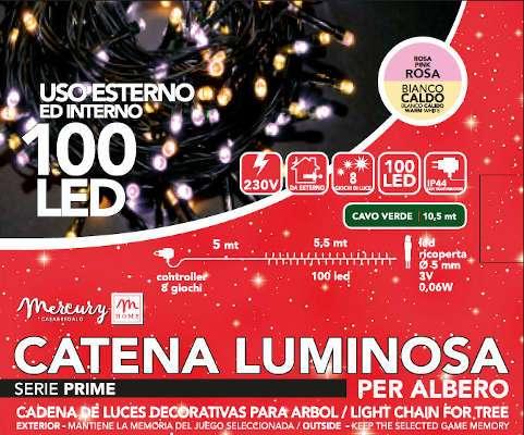 100 LED BICOLORE BIANCO CALDO E ROSA 8 GIOCHI DA ESTERNO 10M SCATOLA REGALO