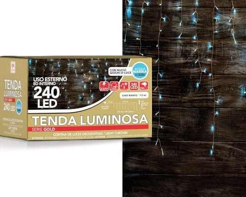 TENDA BIANCA 240 LED DA ESTERNO COLORE ACQUAMARINA CON 8 GIOCHI DI LUCE (LUNG. 7.5M) SCATOLA REGALO