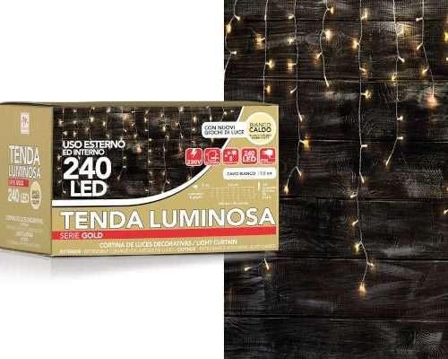 TENDA BIANCA 240 LED DA ESTERNO COLORE BIANCO CALDO CON 8 GIOCHI DI LUCE (LUNG. 7.5M) SCATOLA REGALO