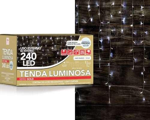 TENDA BIANCA 240 LED DA ESTERNO COLORE BIANCO CON 8 GIOCHI DI LUCE (LUNG. 7.5M) SCATOLA REGALO