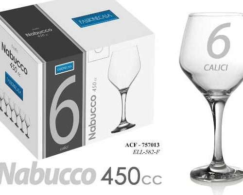 SET 6 CALICI ACQUA 450CC NABUCCO