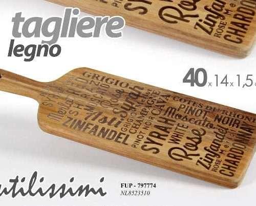 TAGLIERE LEGNO ACACIA CON SCRITTE 40X14X1.5CM