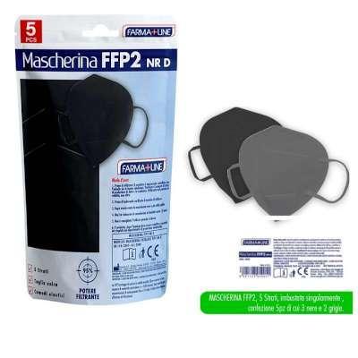 Mascherine FFP2 colore nero e grigio 5 pz