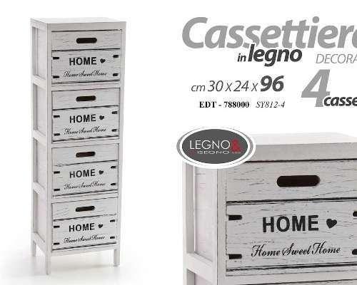 CASSETTIERA MOBILE 4 CASSETTI 30X24X96CM
