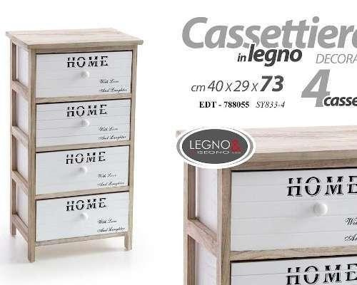 CASSETTIERA IN LEGNO 4 CASSETTI 40X29X73CM