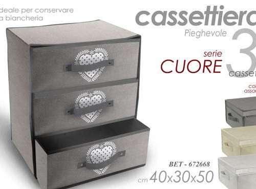 CASSETTIERA SALVA SPAZIO 3 CASETTI TNT 40X30X50