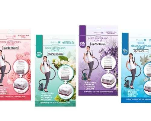08908 - Busta salvaspazio profumata cm 45x75x105 fragranze assortite confezione da appenderia