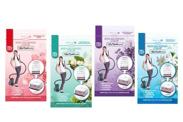 08915 - Busta salvaspazio profumata cm 150x70x44 fragranze assortite confezione da appenderia